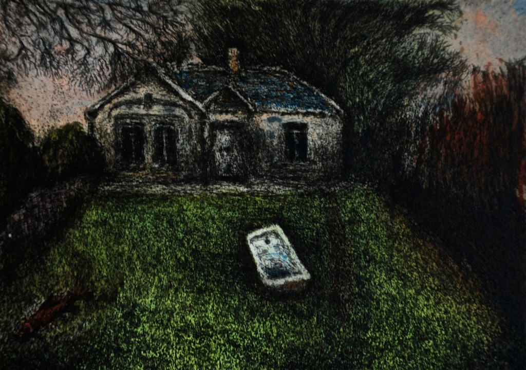 Dreamcomposition 28, Evening on My House, Etching and carborandum