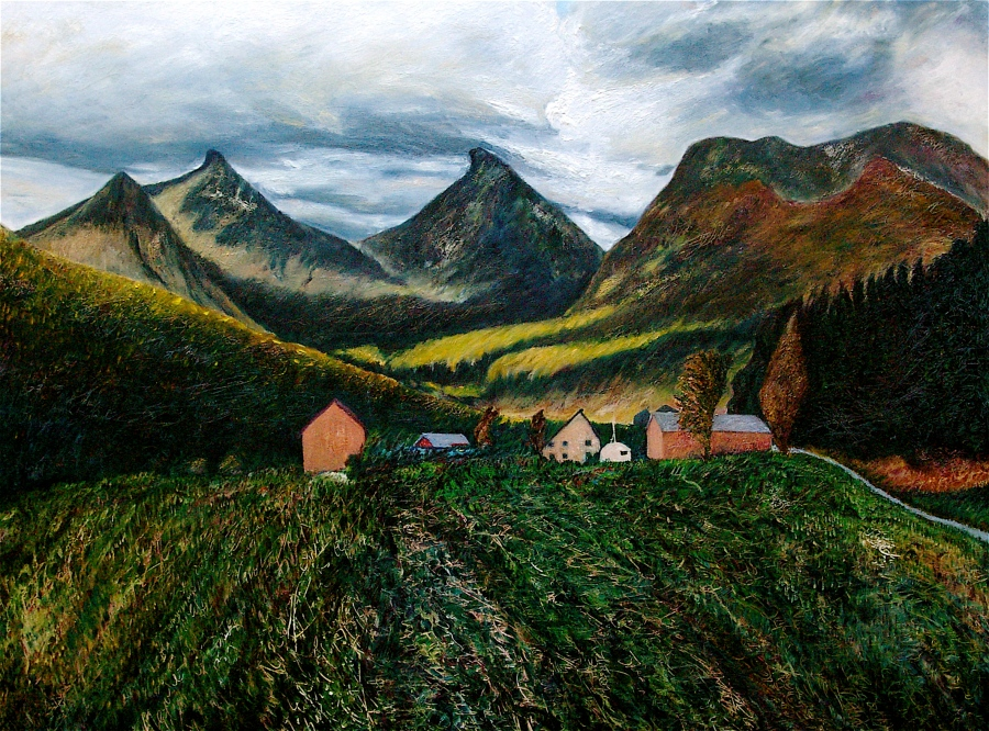 Field and Mountain. Oil on Canvas.