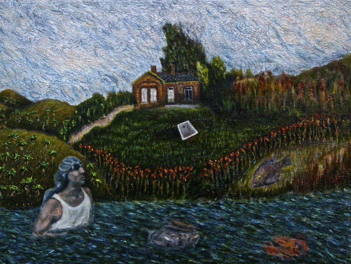 The Fish Chasing Spaniard Behind My House, oil on canvas, 30 x 40 cm