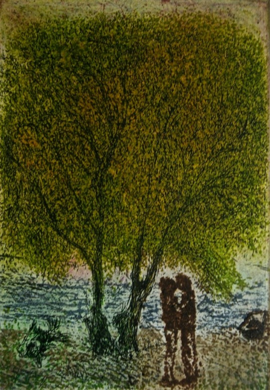 'Kiss', etching & aquatint, 12.5 x 8.5 cm, edition of 50