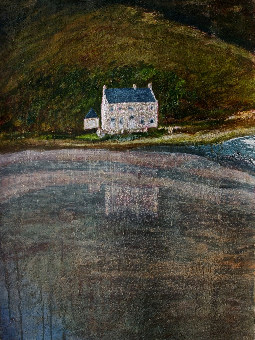 'Dugort Shore, Achill', mixed media with oil on textured paper, 75 x 56.5 cm, 2014