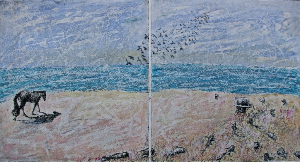 'Homeward', Printed Key Plate with Pastels & Watercolours, 24.1 x 45.5 cm, Edition of 1