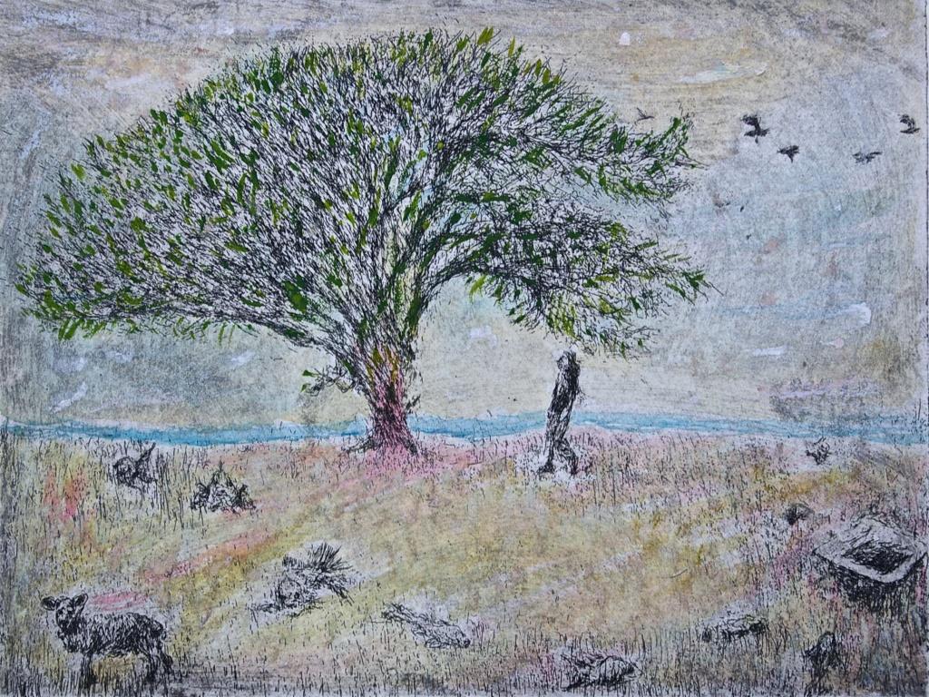 'Wondertree Between the Ocean and a Bathtub', Printed Keyplate & Watercolours, Edition of 1