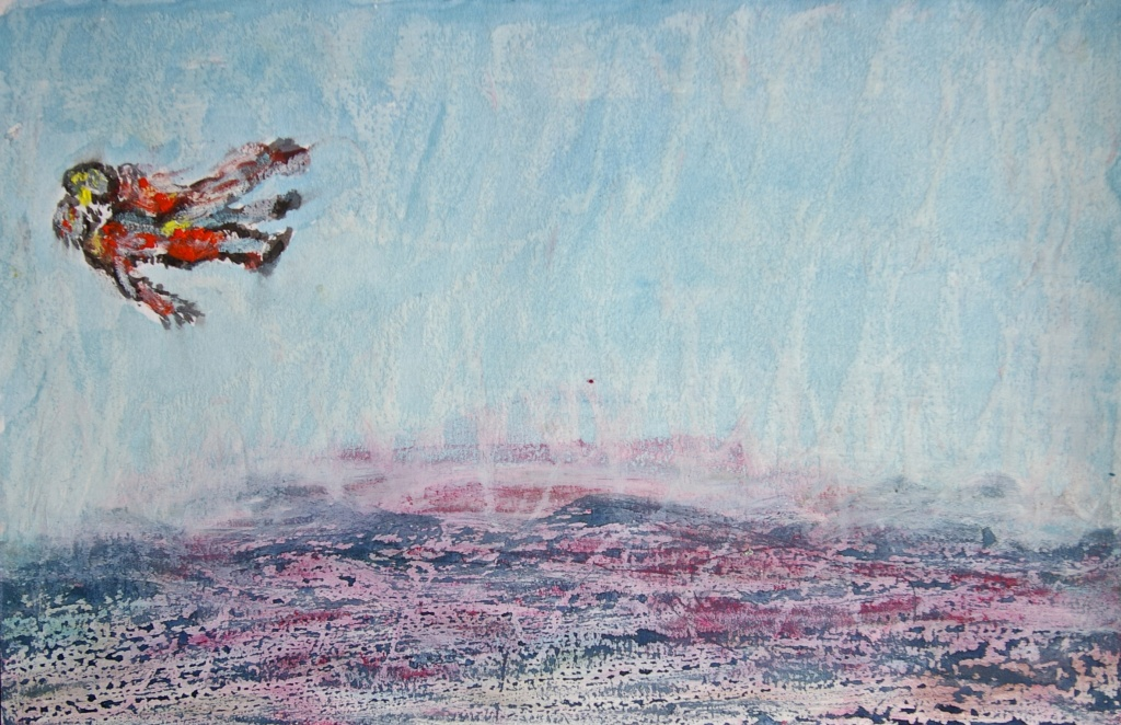 'Lovers Over Hallucinated Landscape', mixed media on paper, 15 x 21 cm