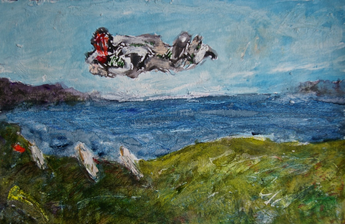 'Conception Over Cill Rialaig 1', mixed media on paper, 15 x 21 cm