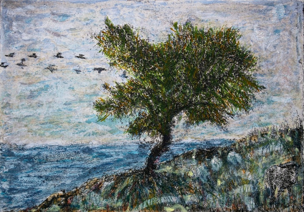 Tree at Stormy Shore, etching with mixed media, 15 x 21 cm, edition of 1.