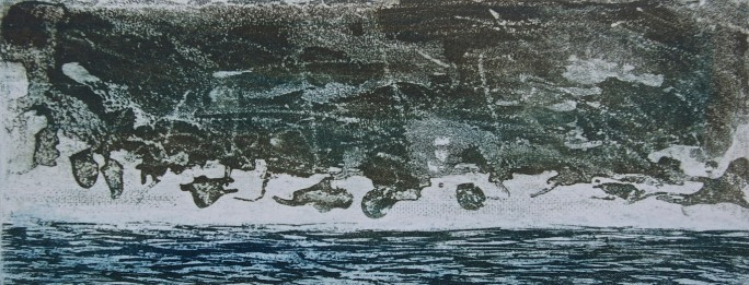 Clouds Formation Over Sea, aquatint, 7.8 x 20 cm, edition of 55