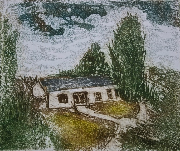 Conor's Cowhouse, Monasterevin, aquatint