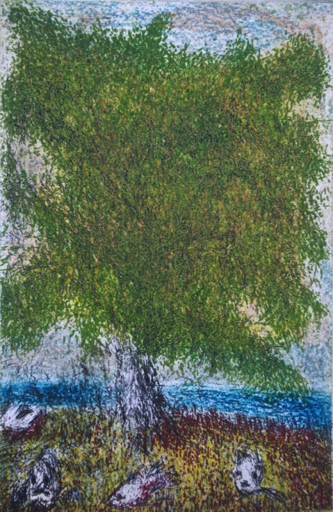 Tree By the Sea, etching and aquatint, 16.5 x 11 cm.