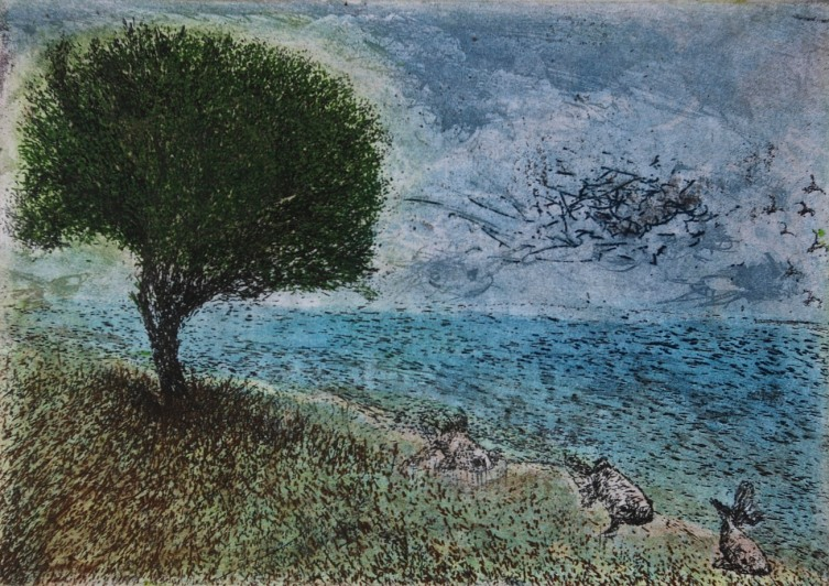 Waiting for Rain, etching and aquatint, 14.7 x 21 cm, edition of 55