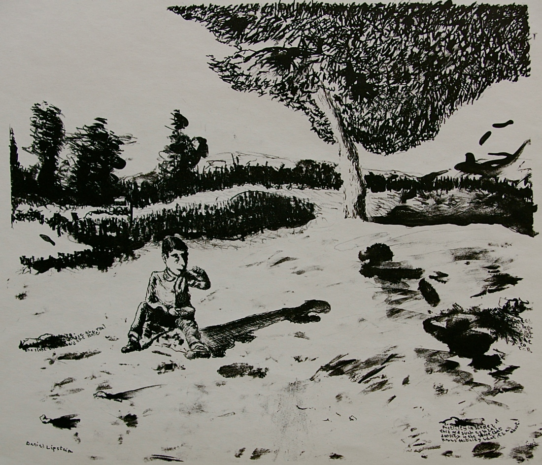 Boy Eating Soup Near a Forest, lime stone lithograph, 36 x 31 cm, edition of 4