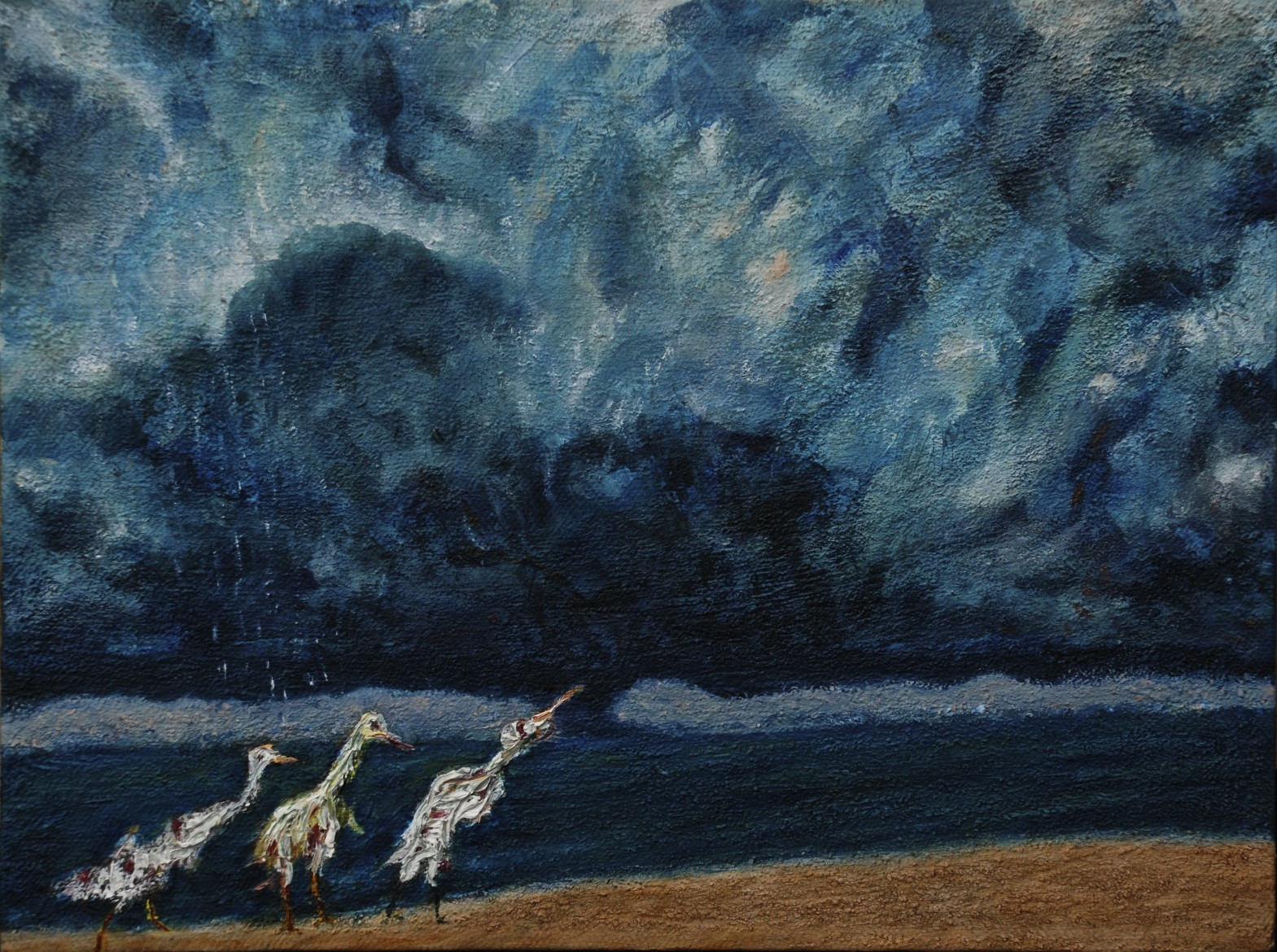 Crazed Birds on a Stormy Shore, oil on canvas, 23 x 30.5 cm, 2018