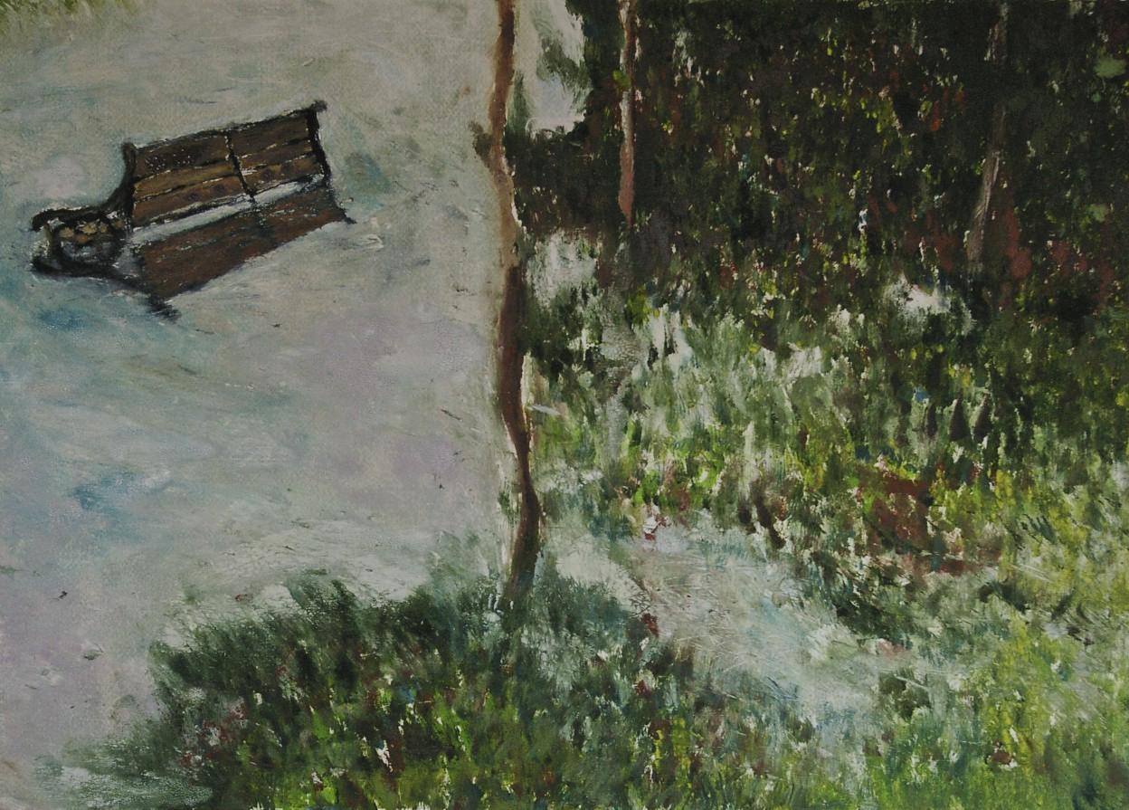 Flooded Bench, monotype, 49.7 x 69.1 cm, 2018