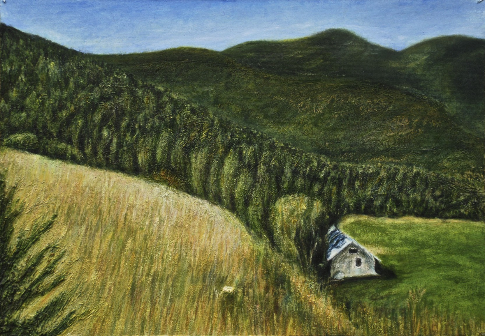 Hidden House on Catalan Mountains, oil on paper, 35 x 50, 2018..