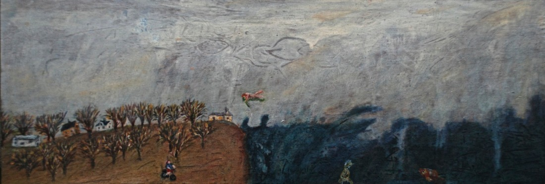 Levitation Over where Sea Touches Land, oil on board, 14.5 x 42 cm, 2018