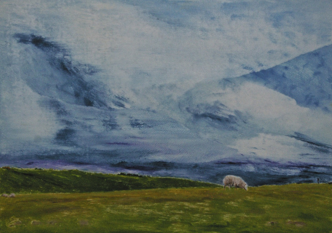 Lone Sheep at the Curragh, monotype, 50 x 69.7 cm, 2018
