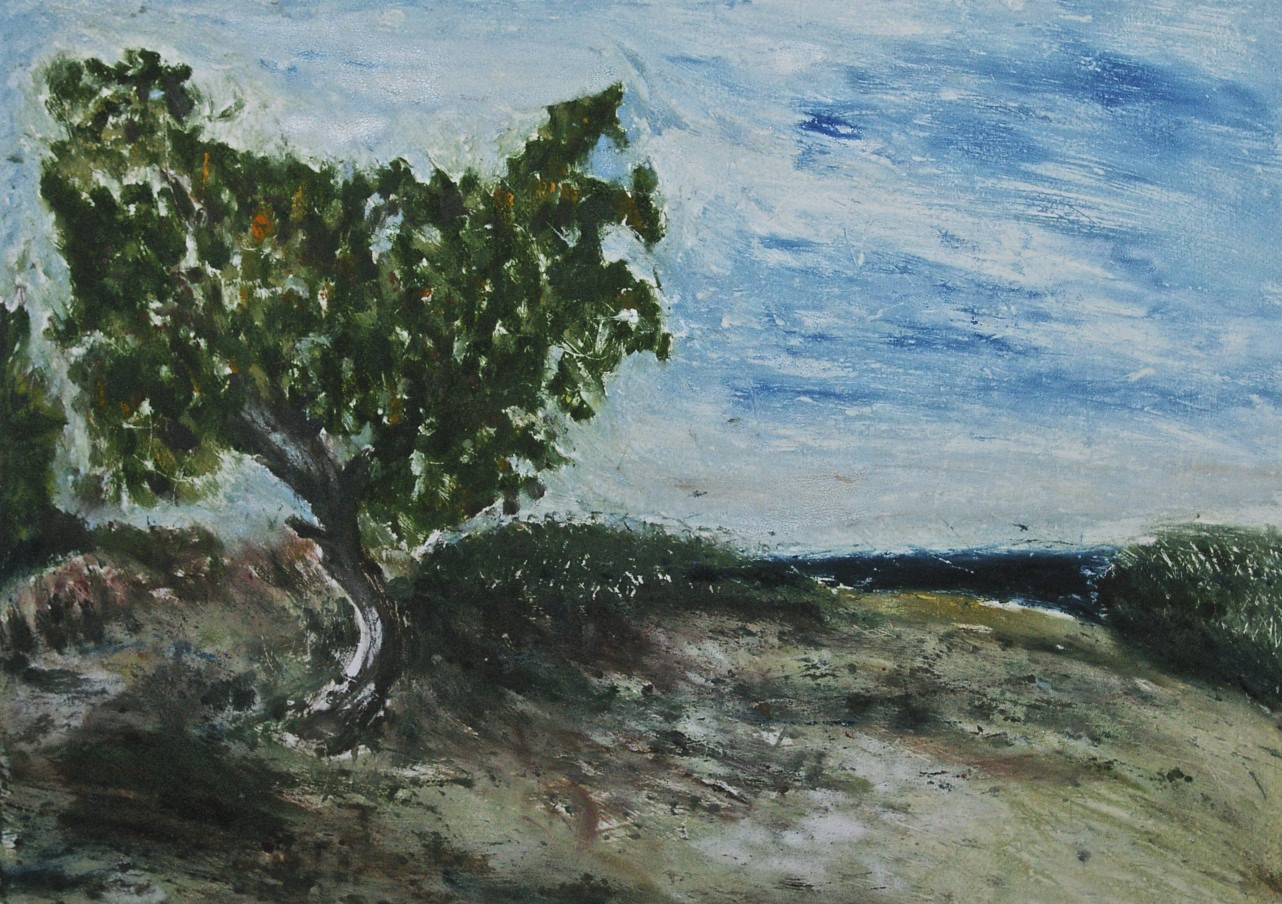 Tree by the Sea, monotype, 49.6 x 69.6 cm, 2018