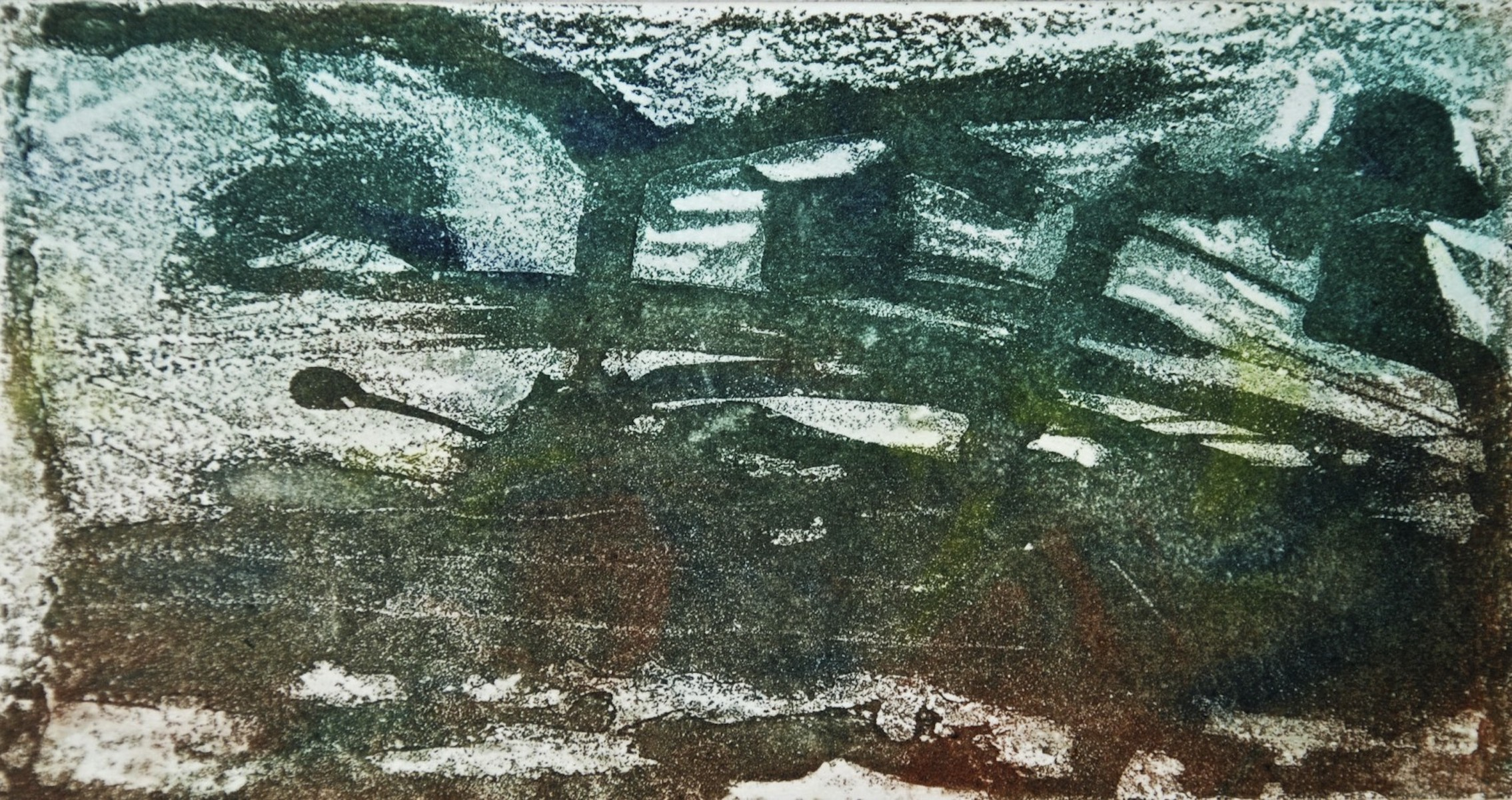 Abstract 1, aquatin, 7 x 12.6 cm, v:p, edition of 20