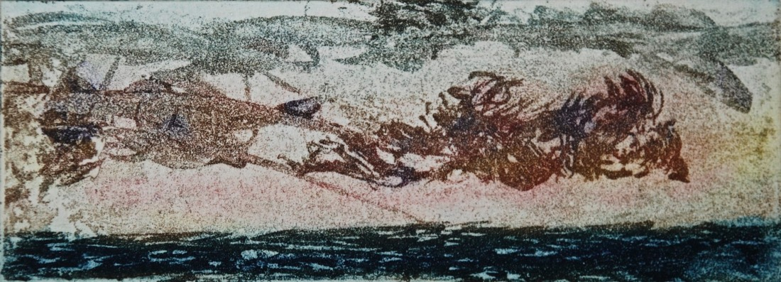 Clouds Formation over Sea 2, aquatint, 5 x 13 cm, v:p, edition of 55