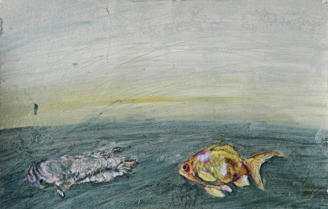 Live Fossils 1, oil and pencil on paper, 13.5 x 21 cm