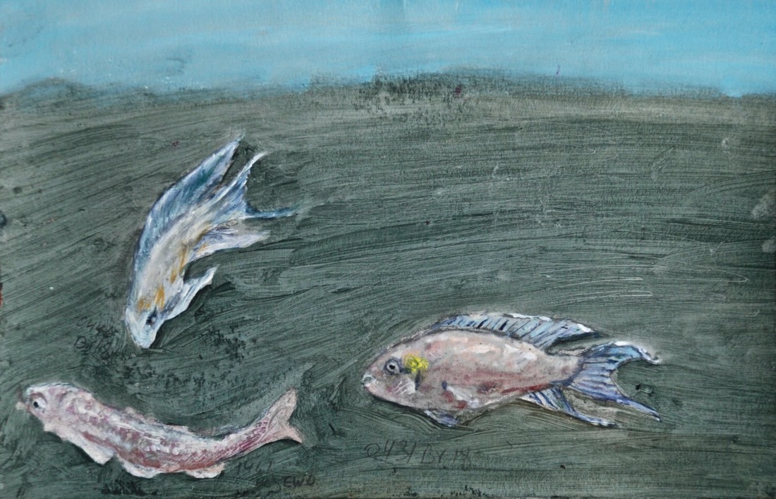 Live Fossils, oil and pencil on paper, 13.5 x 21 cm