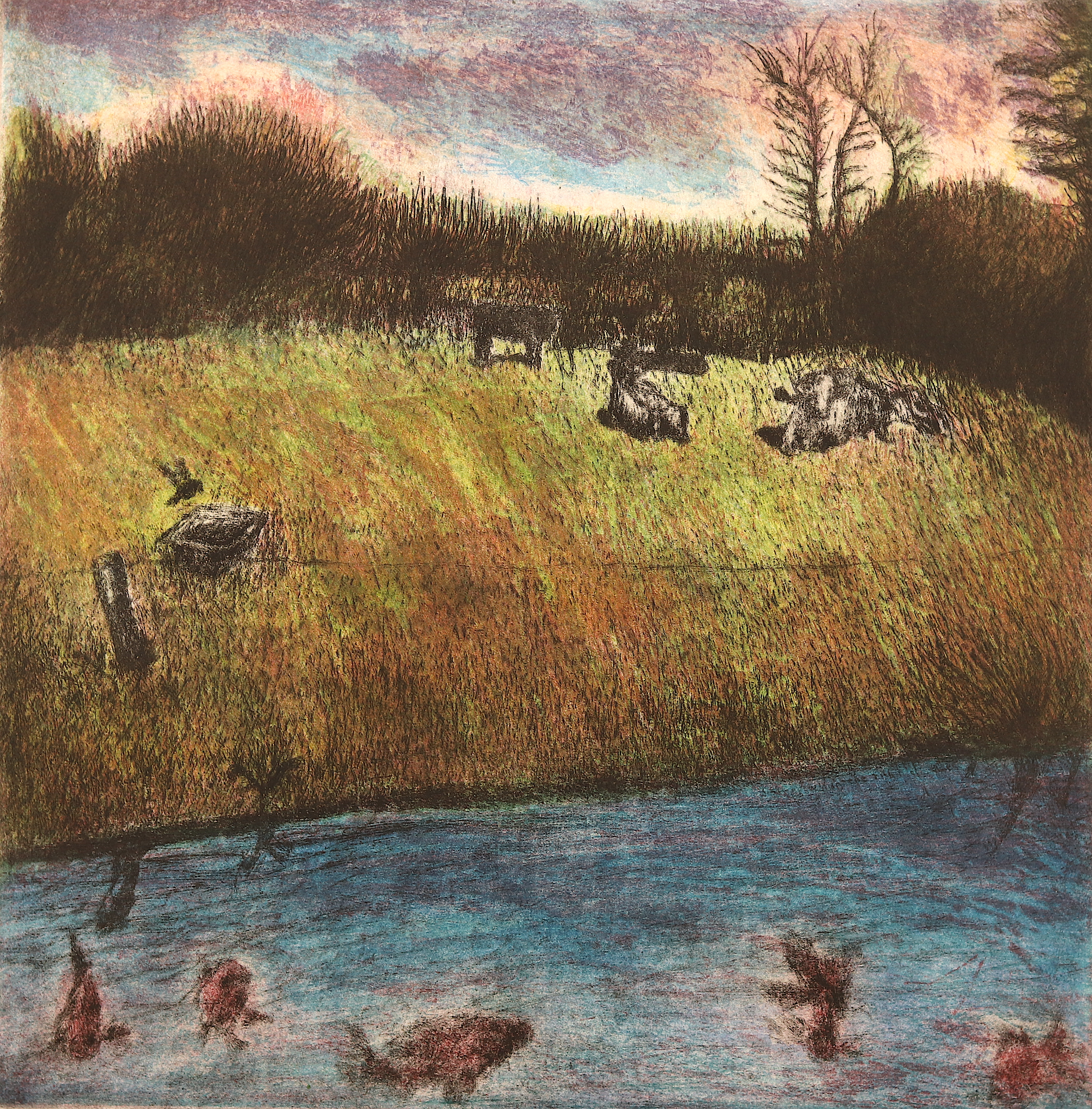 Country Scene, etching and aquatint, 27.2 x 27.3 cm, edition of 55